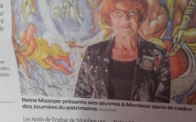 Sud-Ouest : Reine Mazoyer expose à l'église de Thénac-Puyguilhem-Monbos