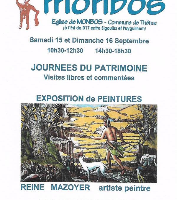 Reine Mazoyer expose à Monbos pour les journées du patrimoine 2018